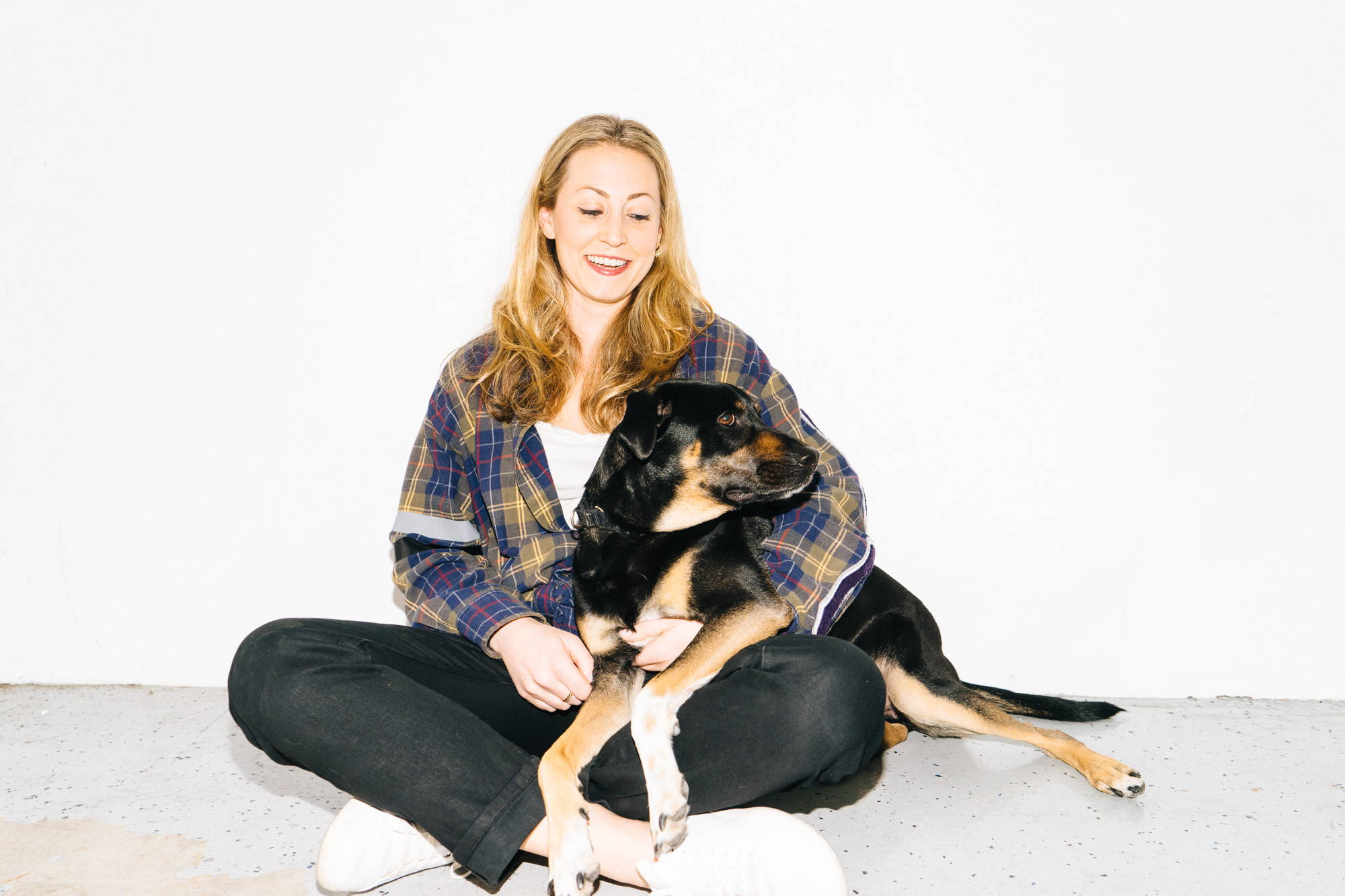 A dope dog named Piper with its owner Aleza Shapiro