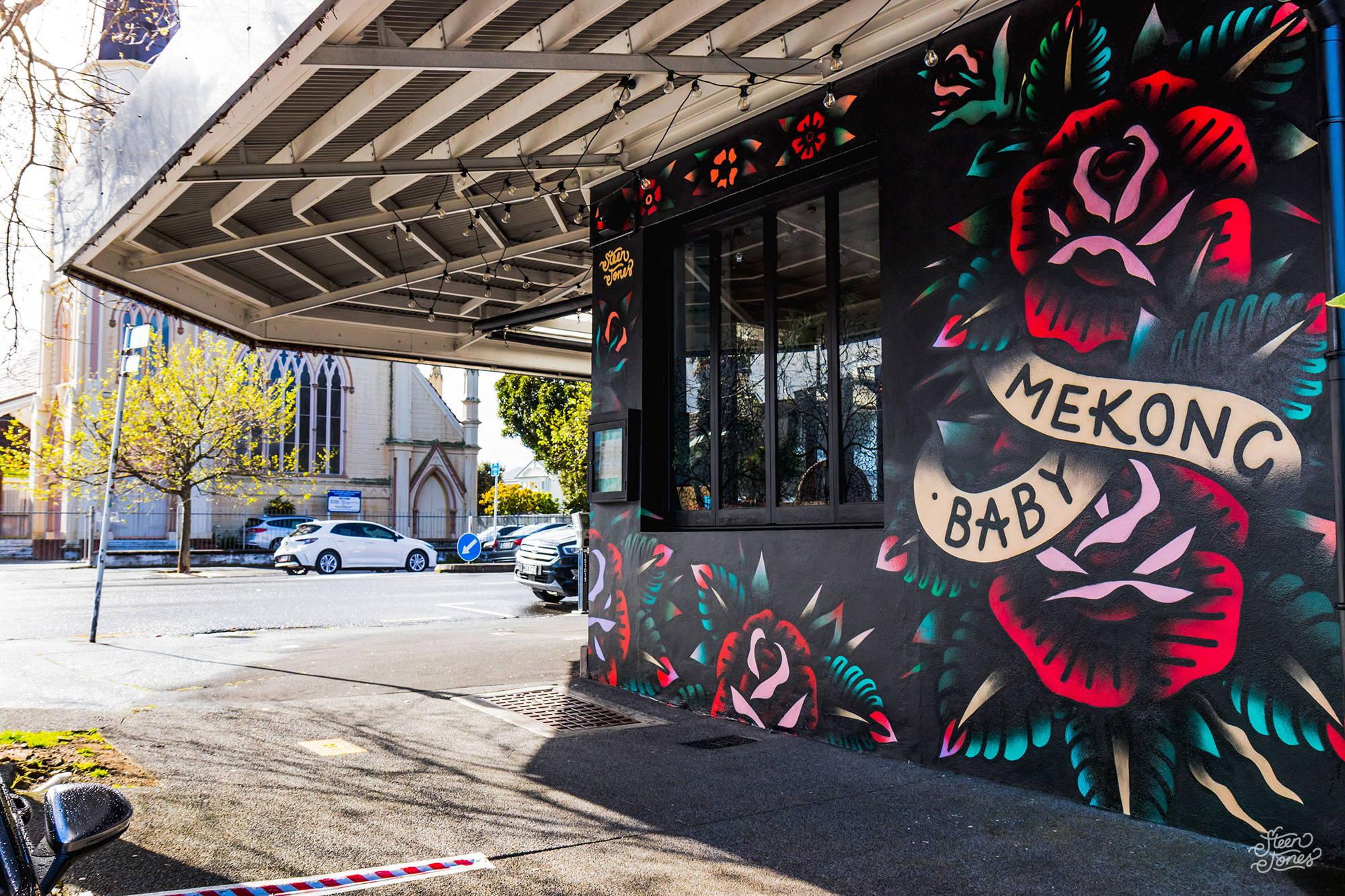 Steen Jones tattoo street artist Mekong Baby Ponsonby NZ mural