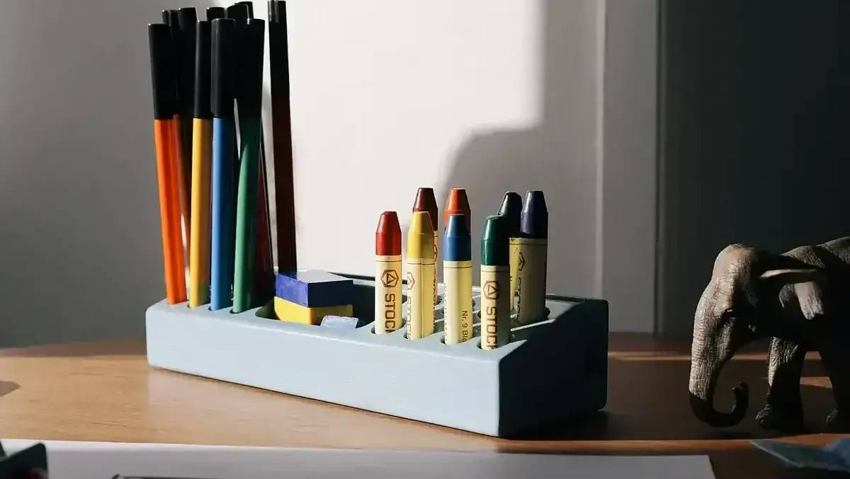 The Penholder from Nofred filled with colours, pencils and stationary for kids