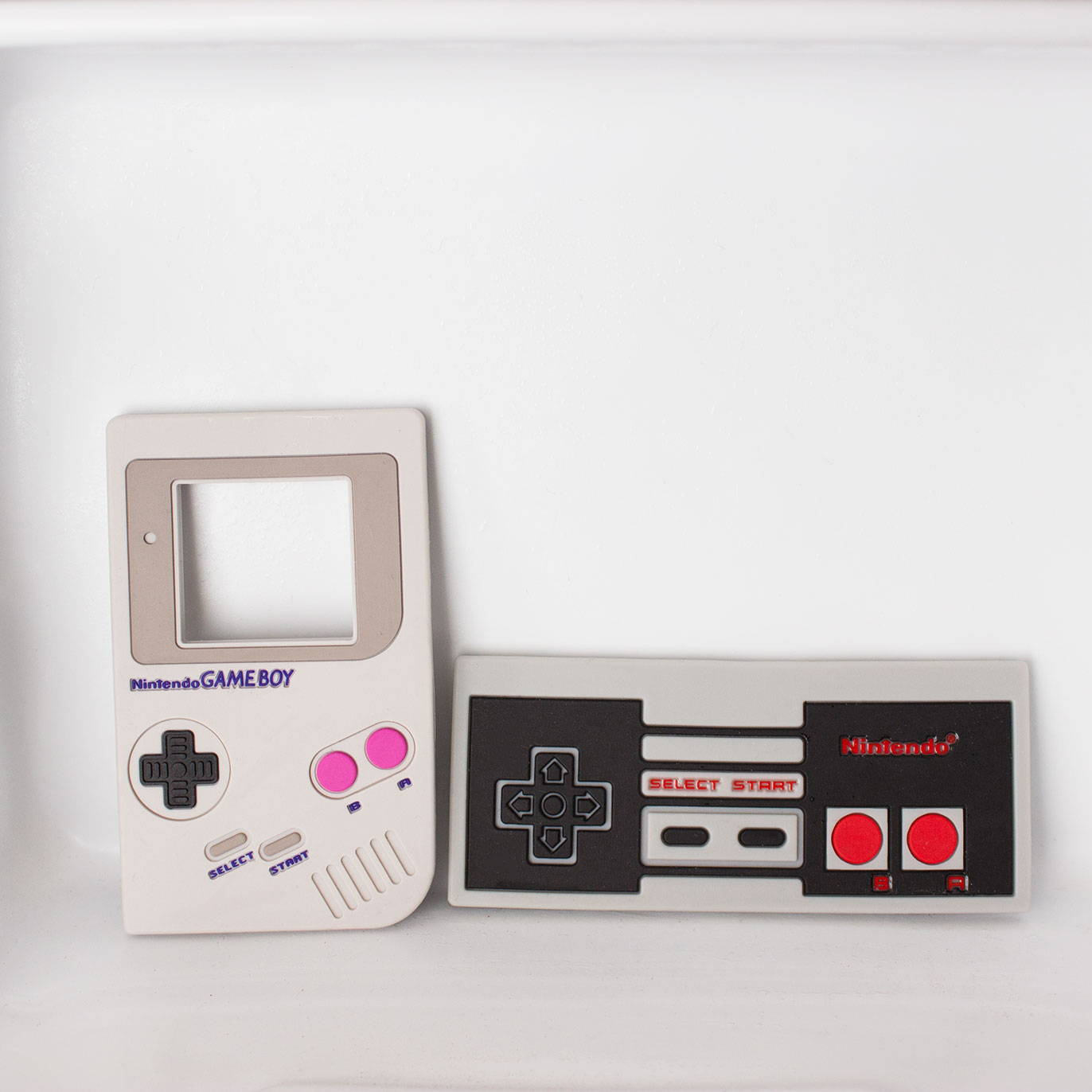 nintendo game boy and nes controller baby teething toys