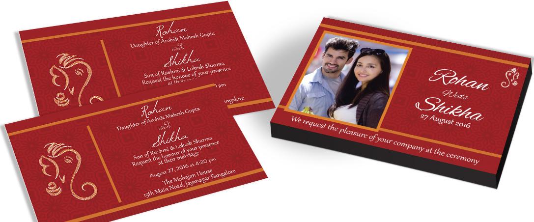 Couple Photo Invitation card for Hindu Wedding
