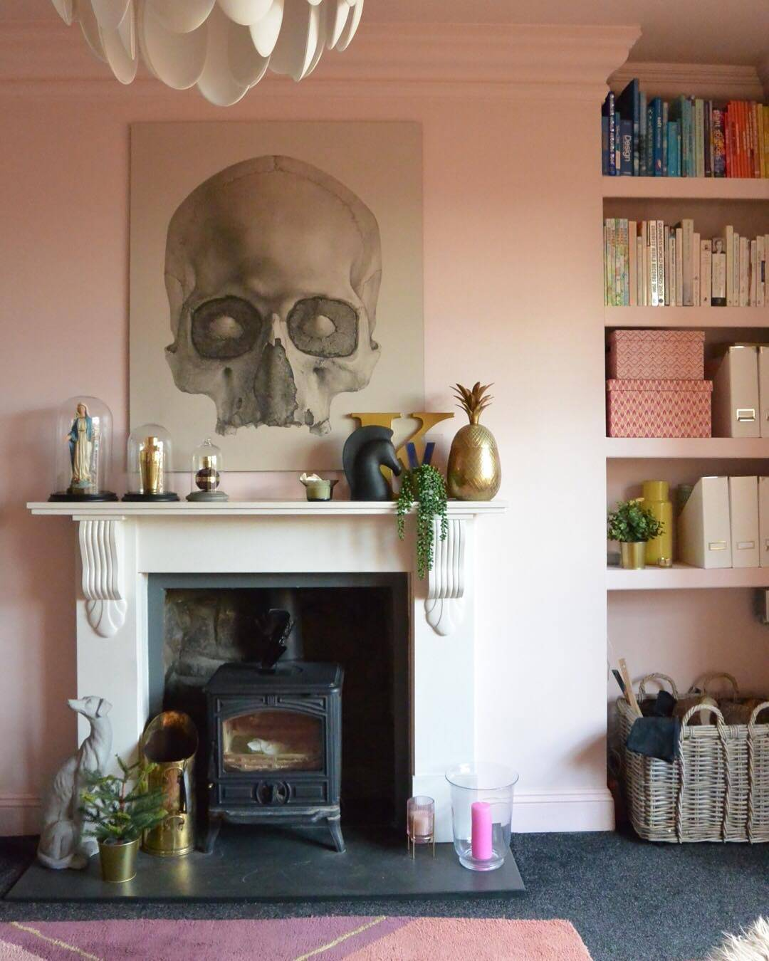 fireplace with large statement artwork