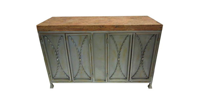 Peach travertine cabinet with iron base model number 1230 C
