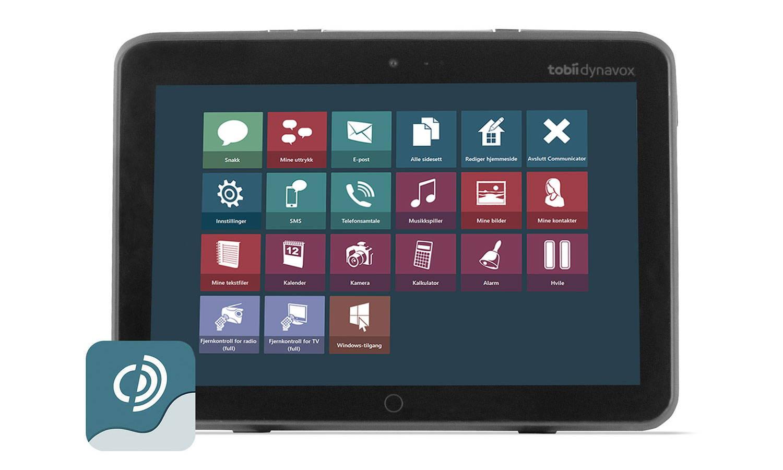 Tobii Dynavox I-110 kommunikasjonsenhet med app-logo for Communicator