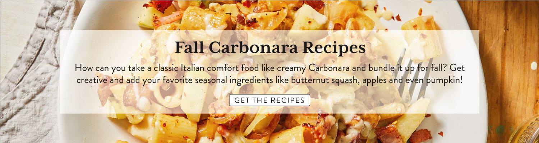 Downshot of prepared pasta carbonara on plate