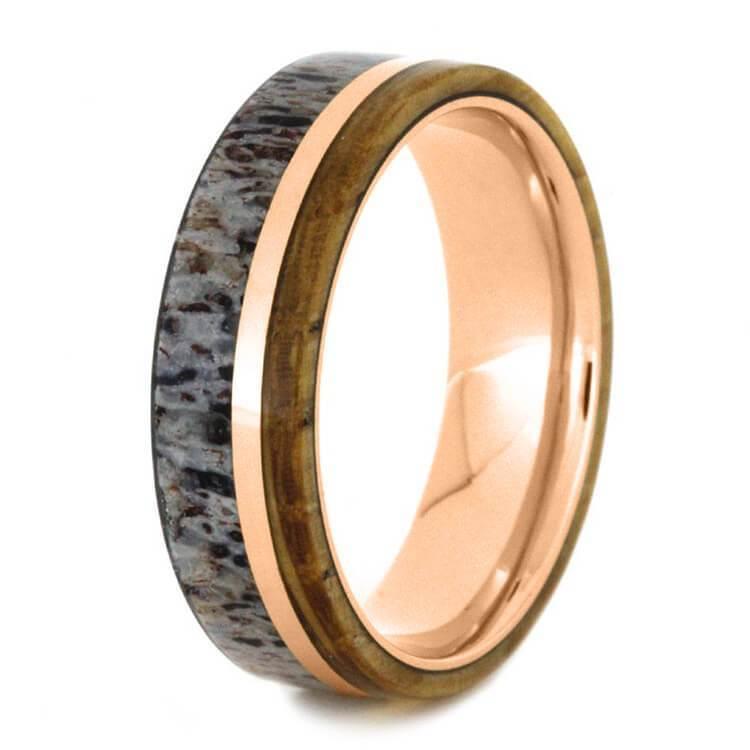 WHISKEY BARREL OAK RING WITH DEER ANTLER WITH 14K ROSE GOLD-3648