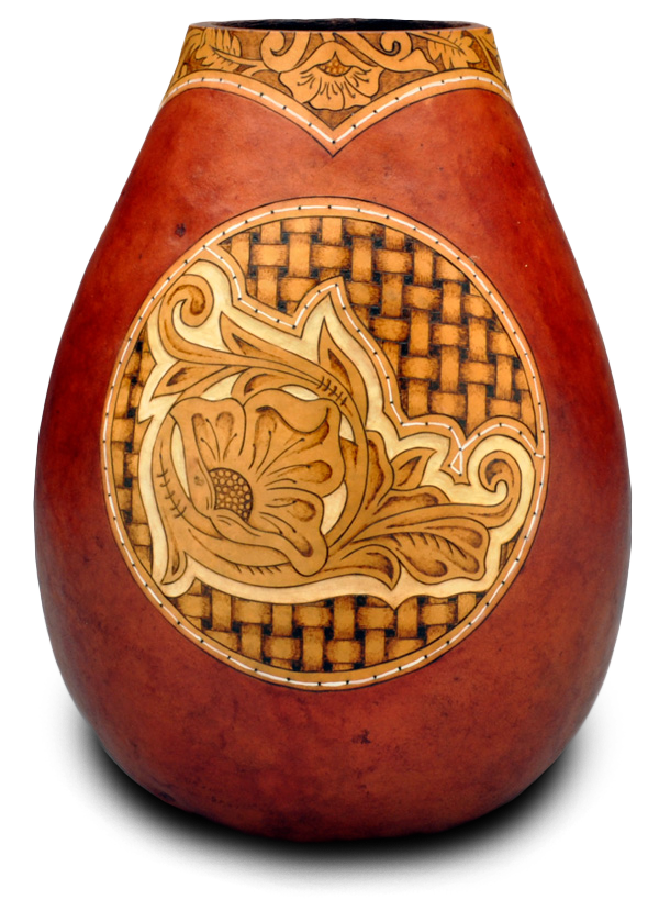 How To Make A Classic Leather Tooling and Basket Weave Gourd