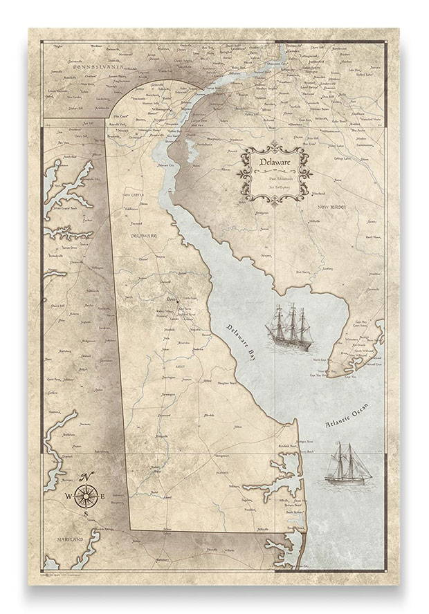 Delaware Push pin travel map rustic vintage