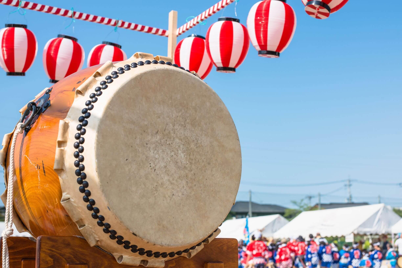Japanese taiko drum and paper lanterns