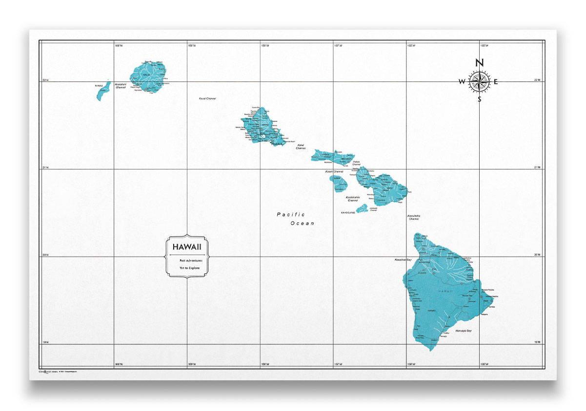 Hawaii Push pin travel map color splash