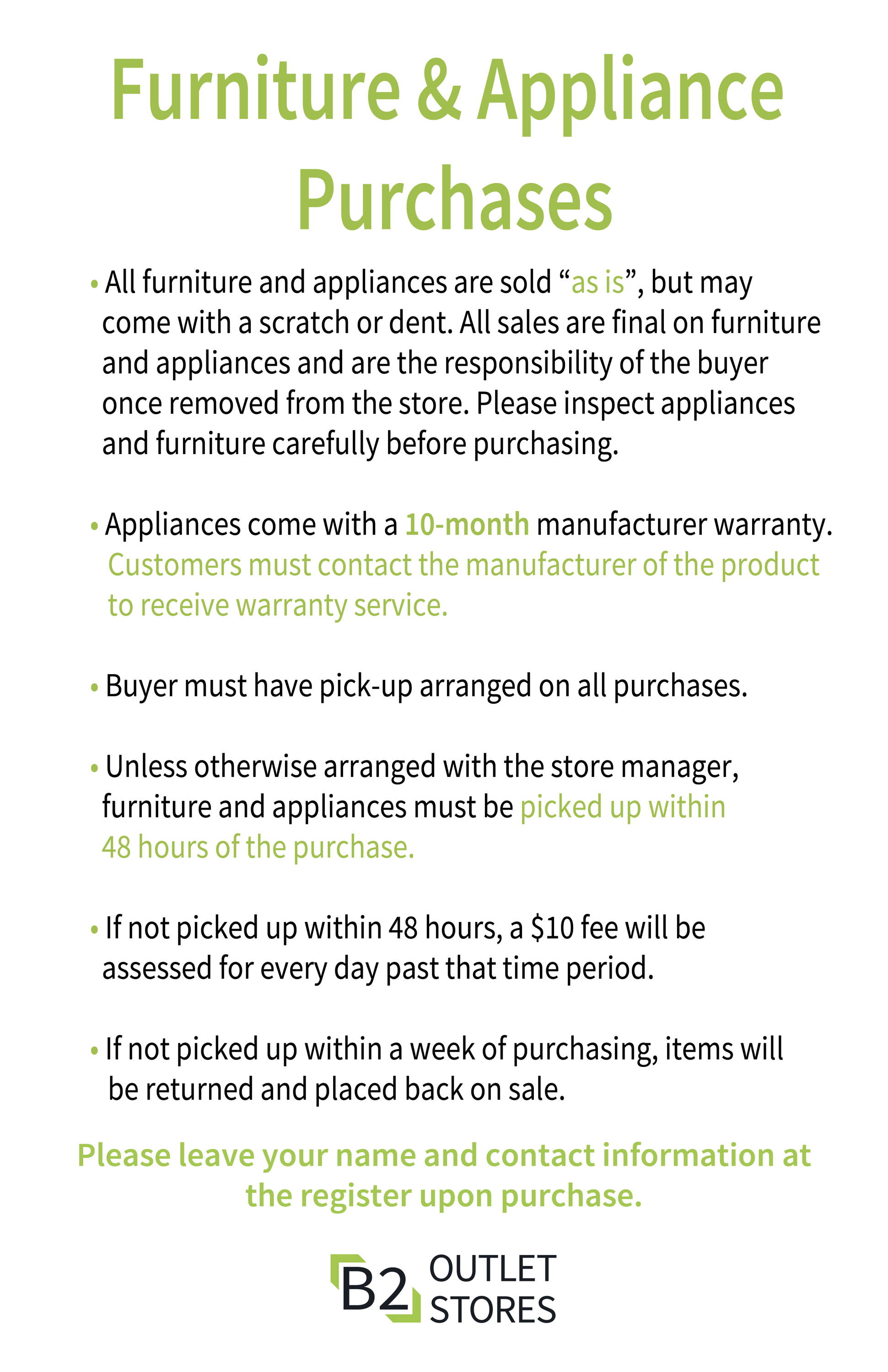 About our Appliances and Furniture.