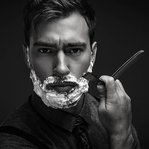 Shaving using Straight Razor with Thick Lather
