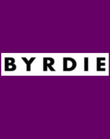 Purple rectangle icon with Byrdie logo in center