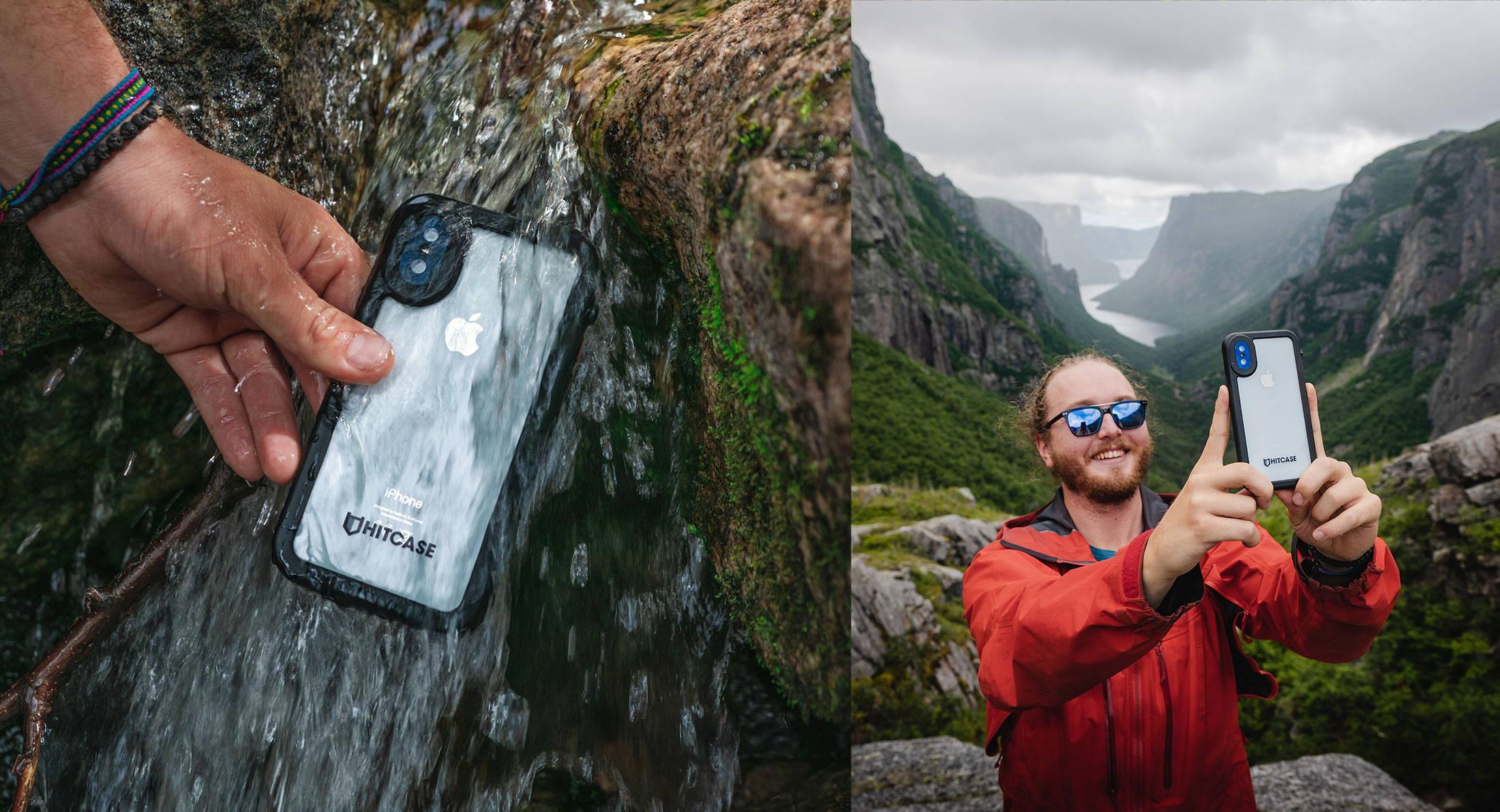 man using waterproof iphone cases