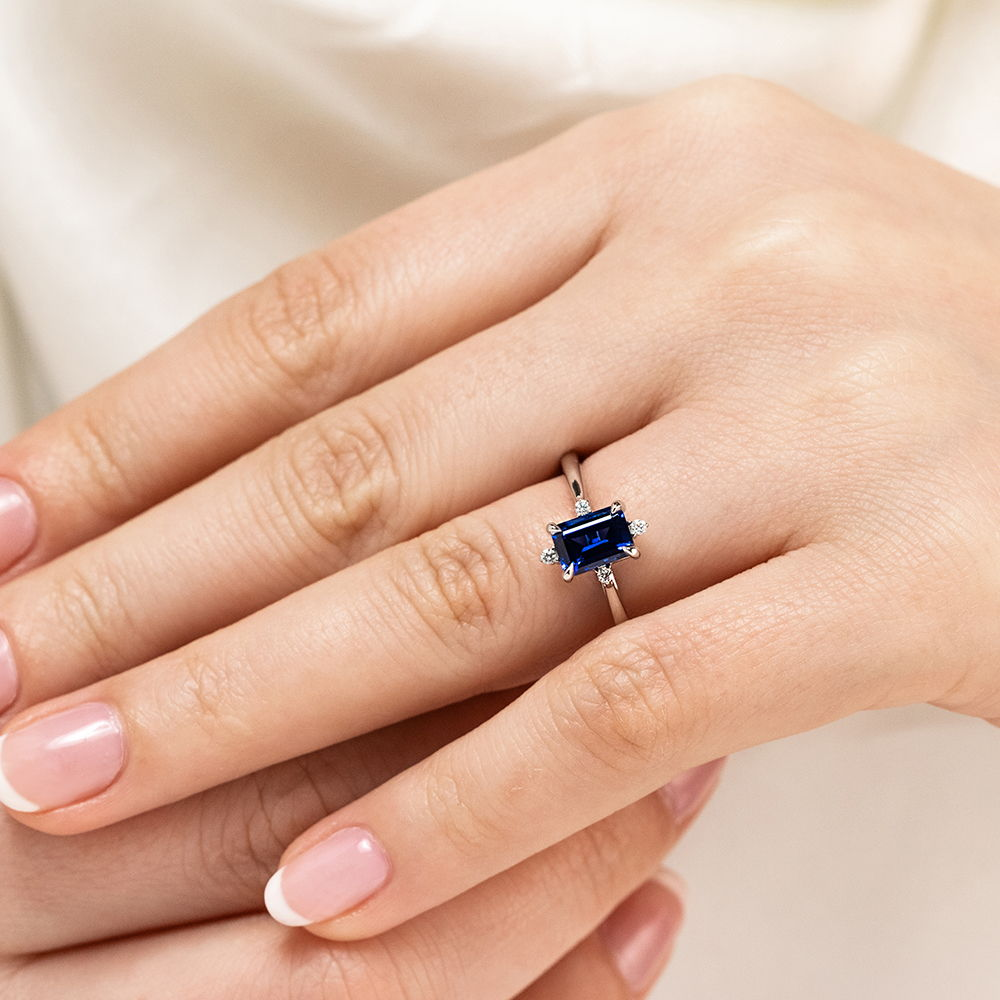 Zara Style Emerald Cut Blue Sapphire Affordable Engagement Ring
