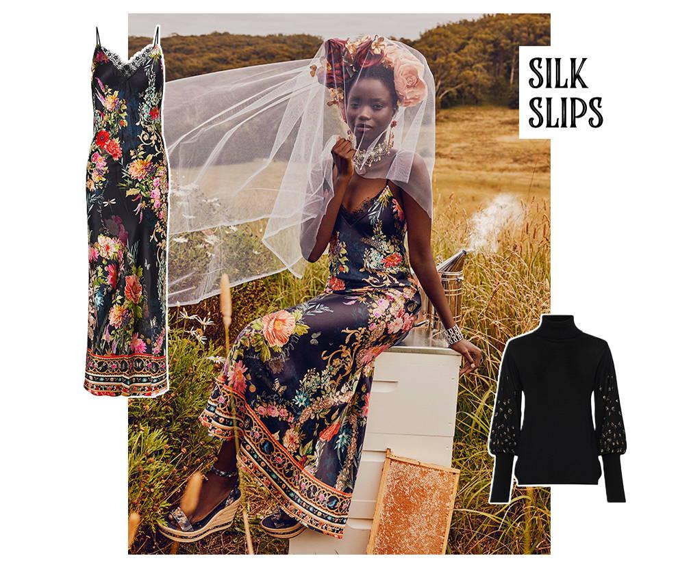 CAMILLA hampton hive slip dress, camilla black floral dress,  black knit jumper