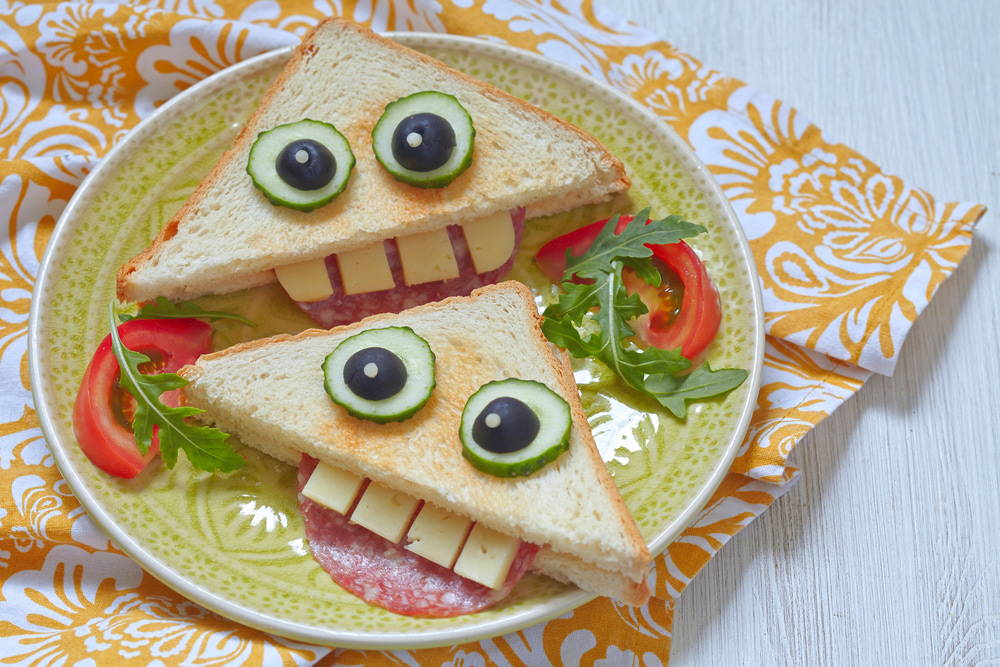 Sandwich slices that look like monsters