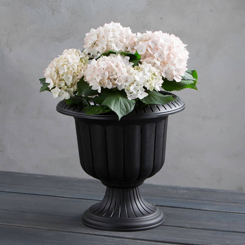 Black Classic Urn with flowers