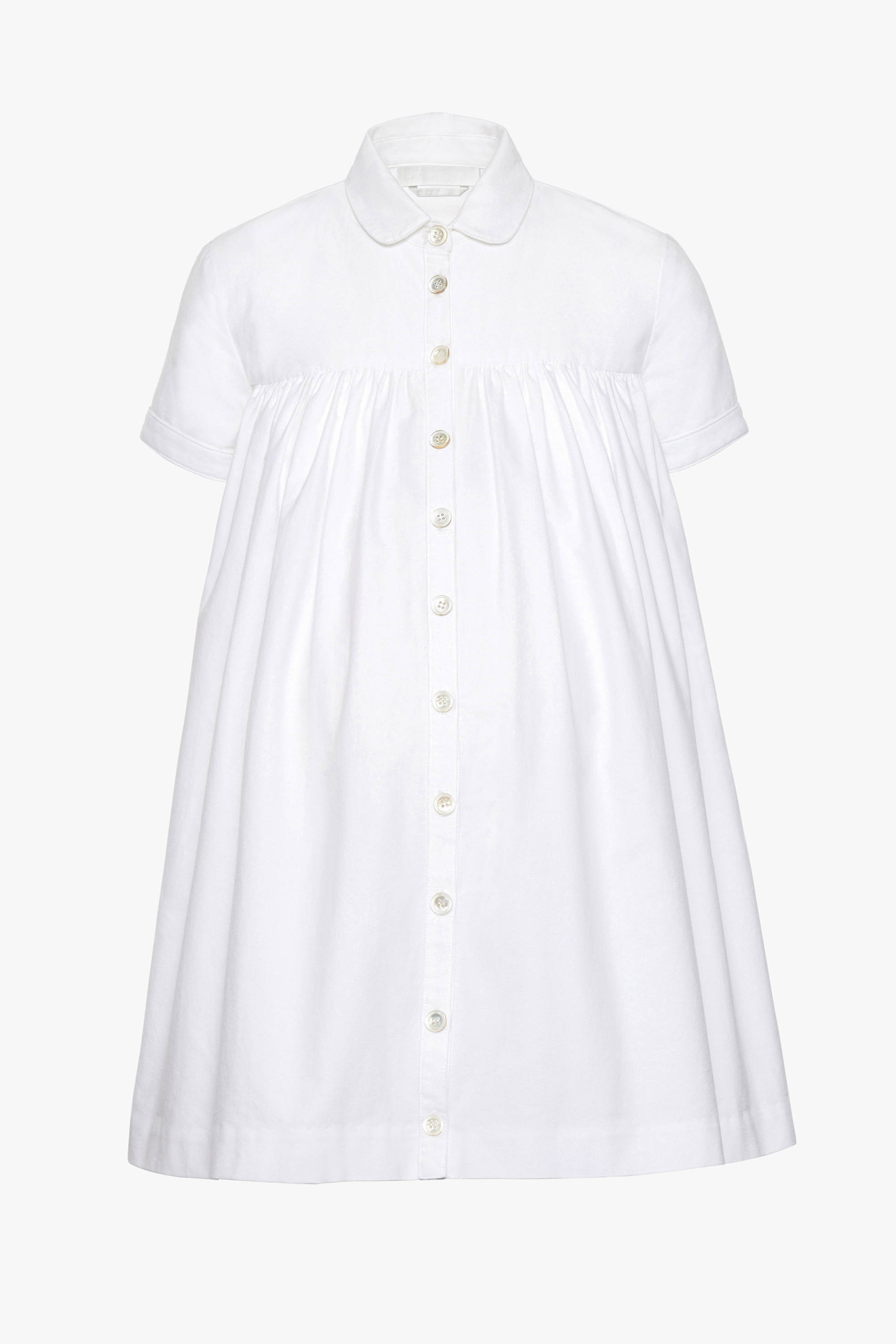 The maternity friendly Melrose dress in white poplin