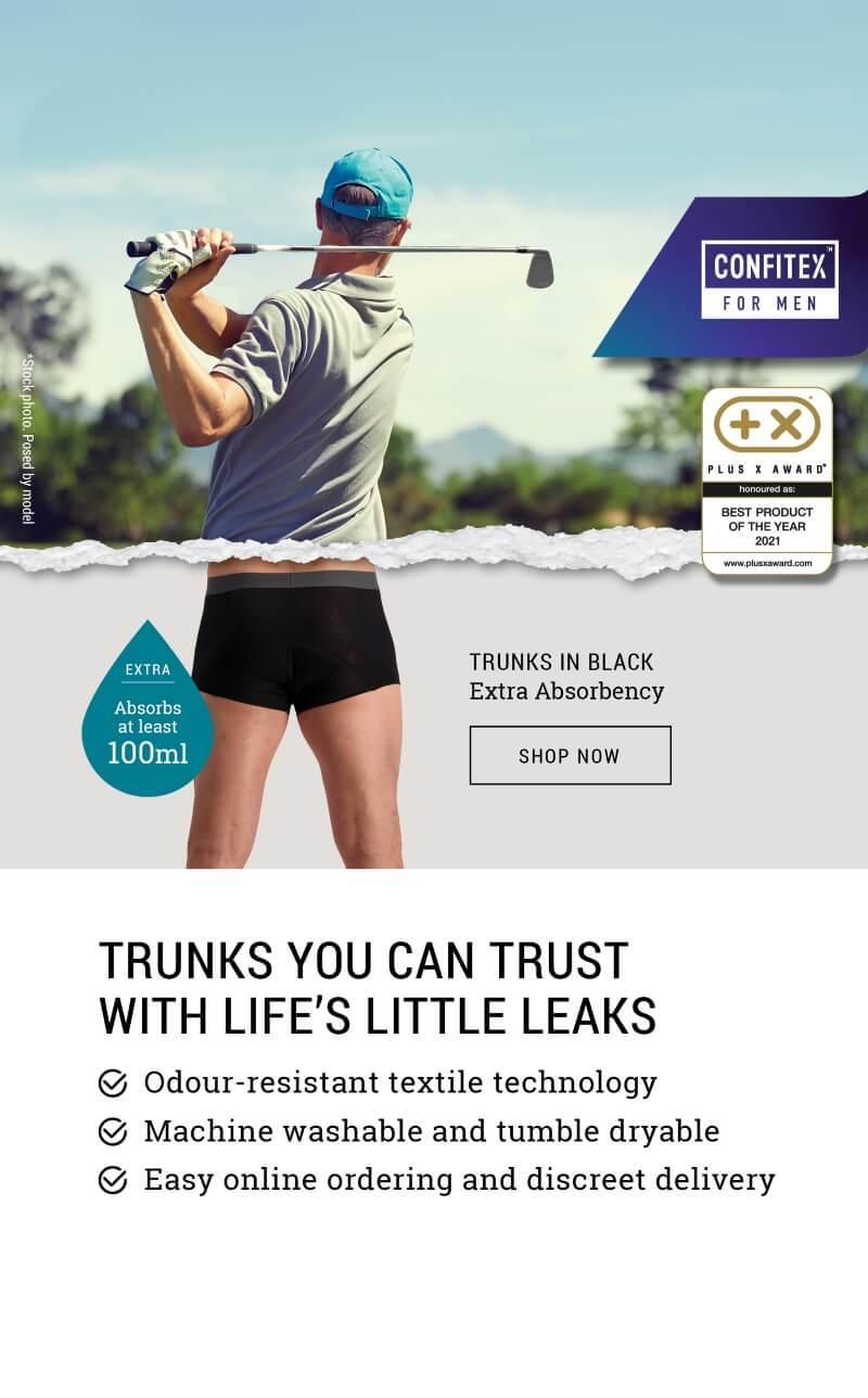 Golfer wearing Confitex for Men Extra absorbent underwear