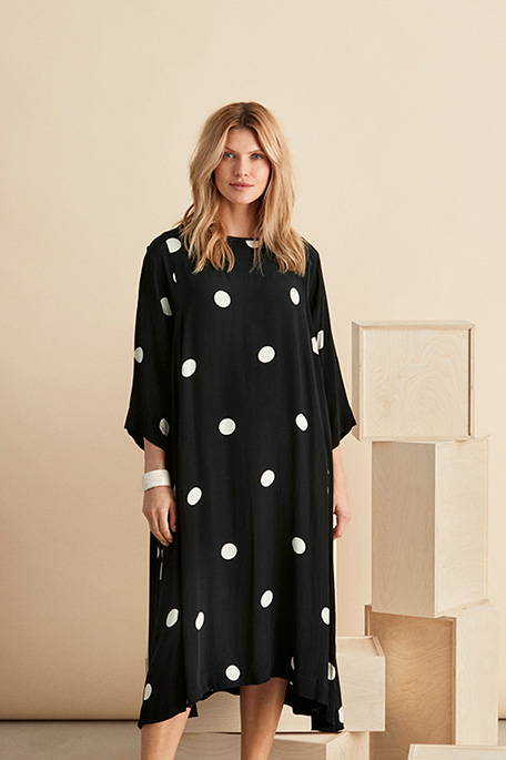 Nabia Dress and Along Scarf in White Polka Dot Print