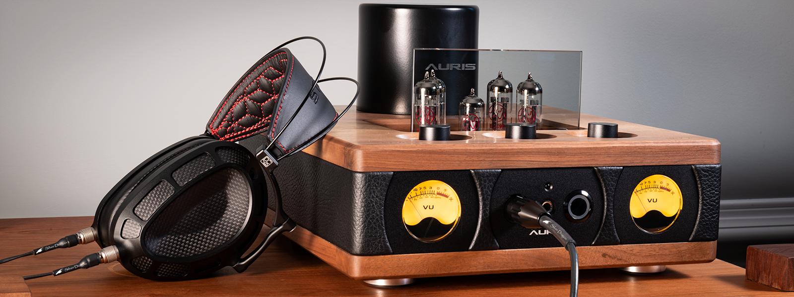 Dan Clark Audio Stealth headphone with Silver Dragon Premium headphone cable and HA - 2SF Amplifier by Auris Audio