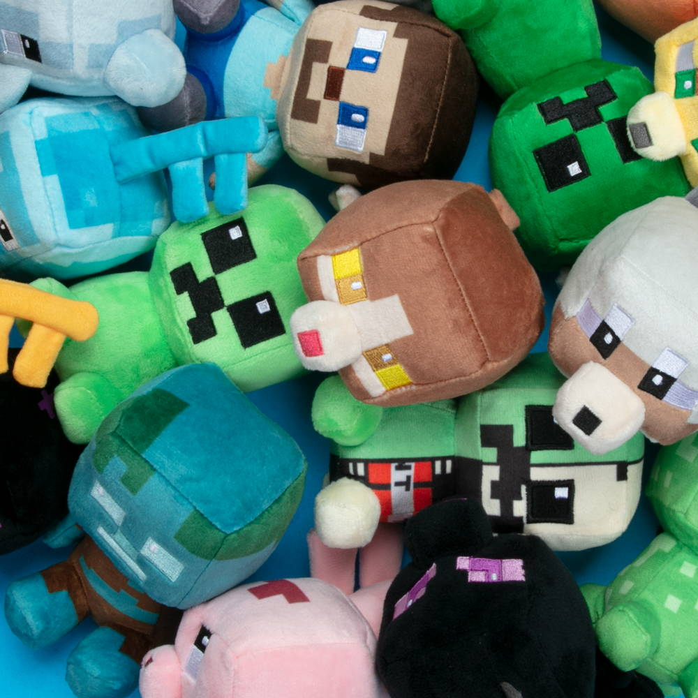 A pile of Minecraft plush toys