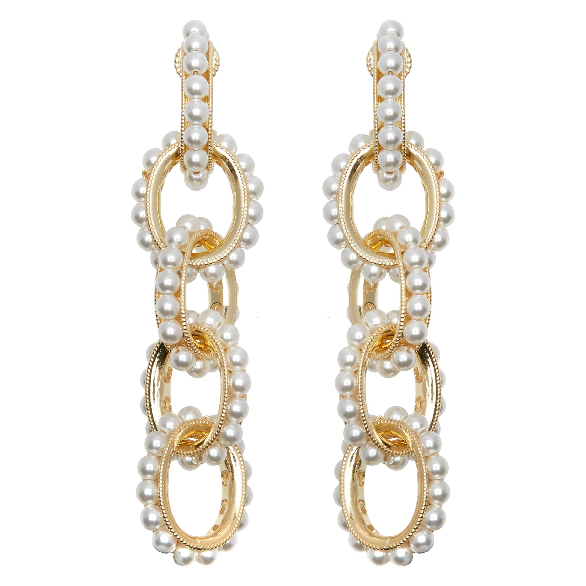 SORU JEWELLLERY PEARL MONDELLO EARRINGS, SORU GOLD AND PEARL LINK EARRINGS