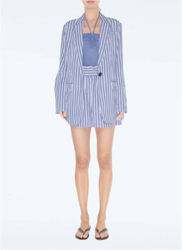 Link To Viscose Twill Oversized Blazer paired with shorts.