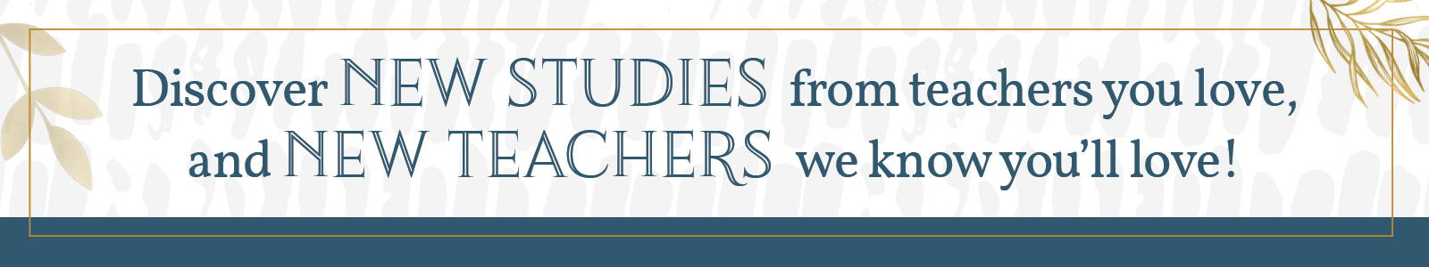 Discover New Studies from teachers you love, and New Teachers we know you'll love.