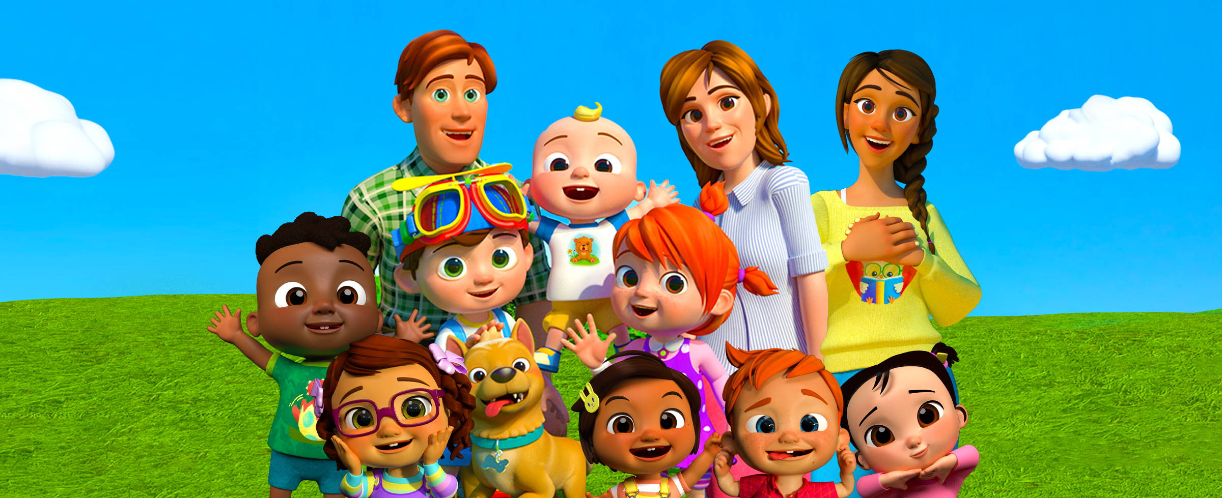 Image of Cocomelon charaters including JJ, YoYo and TomTom