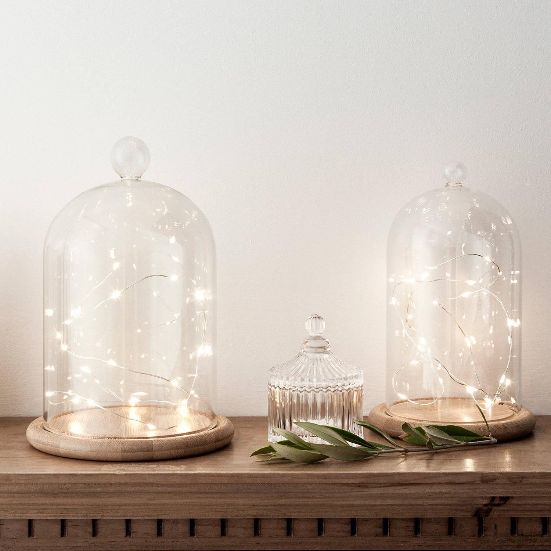20 warm white led micro battery fairy lights inside bell jars