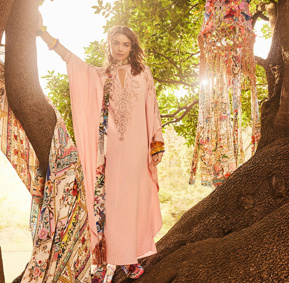 CAMILLA luxe pink kaftan with embellishments