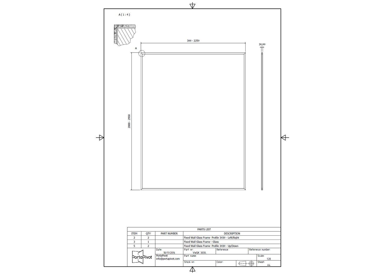 Fixed glass partition system – Portapivot