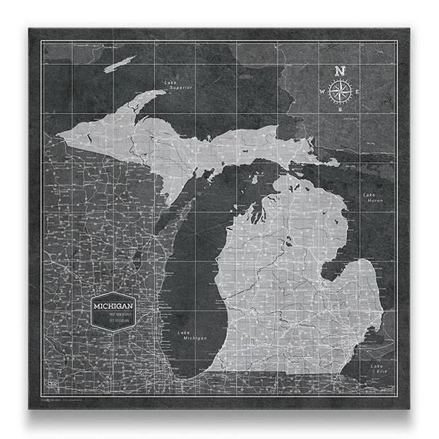 Michigan Push pin travel map modern slate