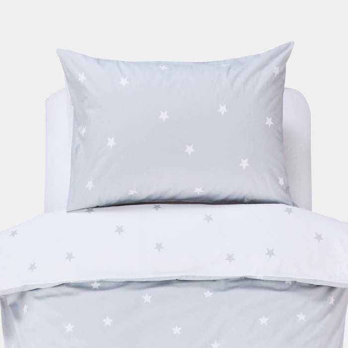 Children's bedding with grey stardust print