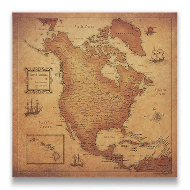 North America Map Pin Board Golden Aged