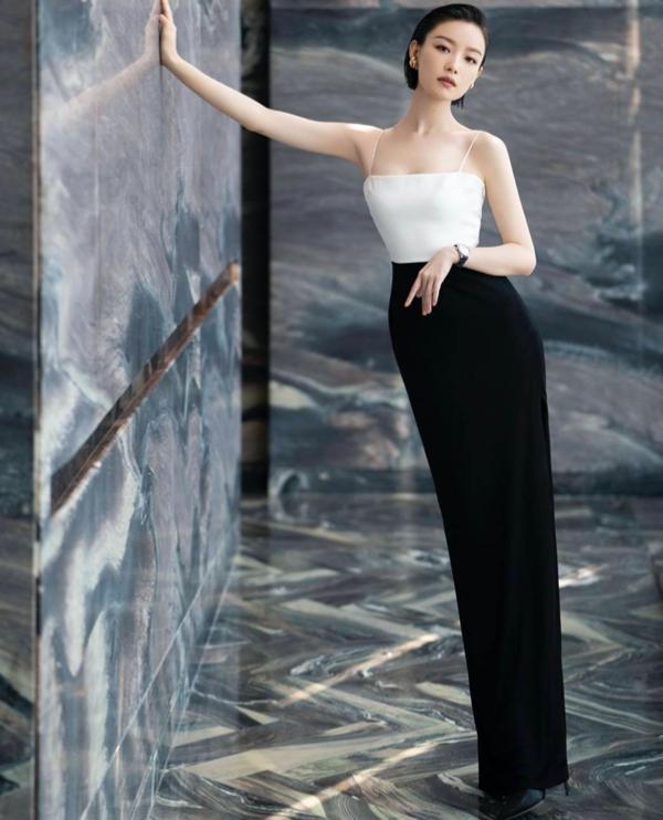 Galvan London Black and White Bandeau dress