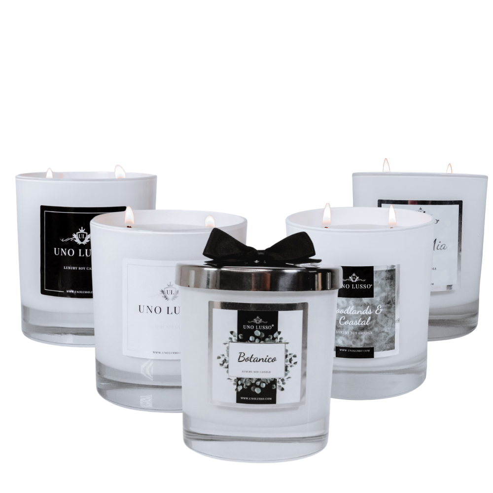 White gloss 2 wick scented candles by Uno Lusso