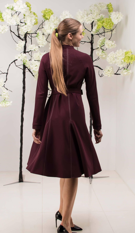 BURGUNDY VISCOSE-BLEND CREPE DRESS