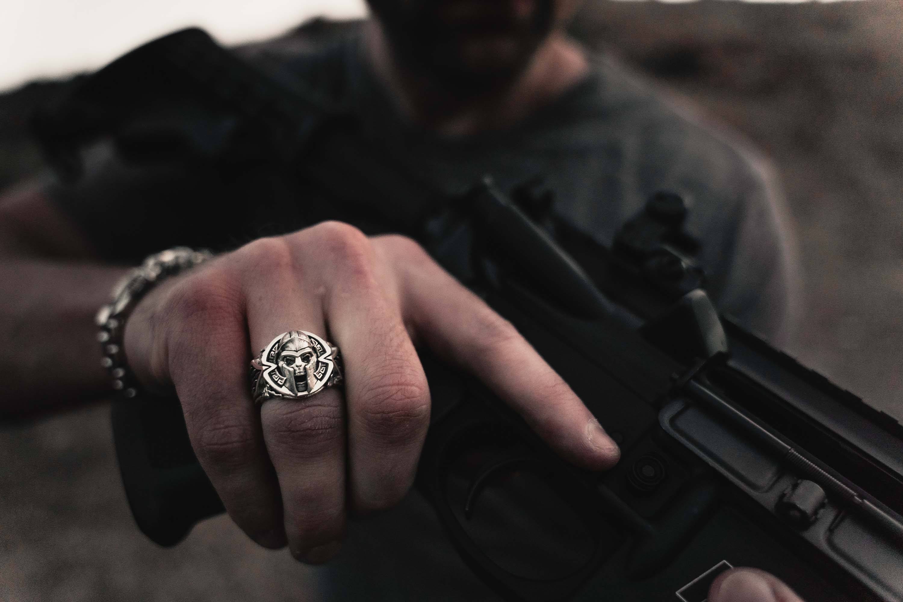 A Man Wearing the Thermopylae Band Ring by NightRider Jewelry