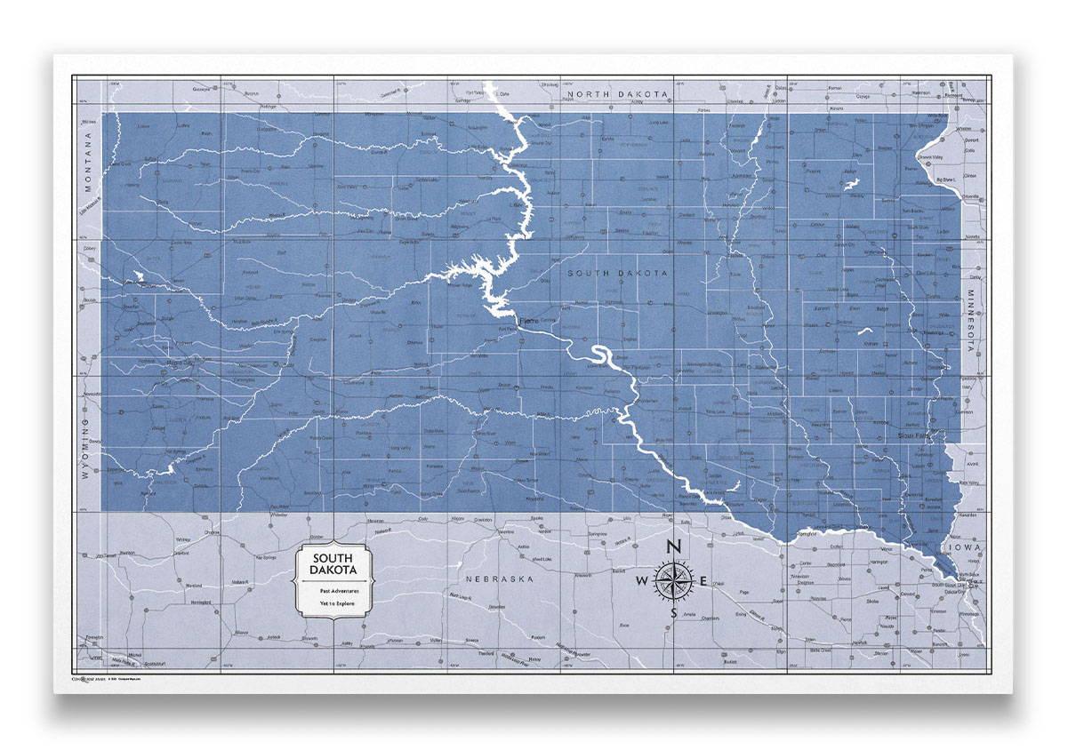 South Dakota Push pin travel map color splash
