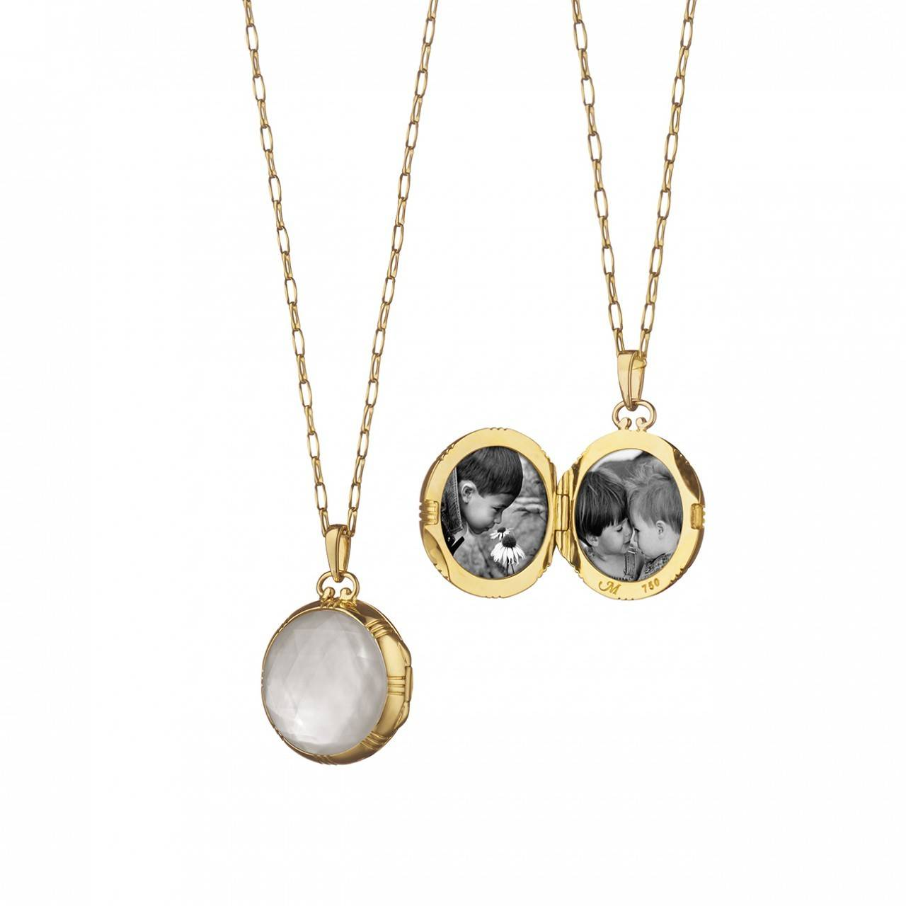 Monica Rich Kosann Crystal and Mother of Pearl Locket