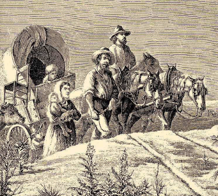 A etching of pioneers in a wagon on the Oregon/California Trail