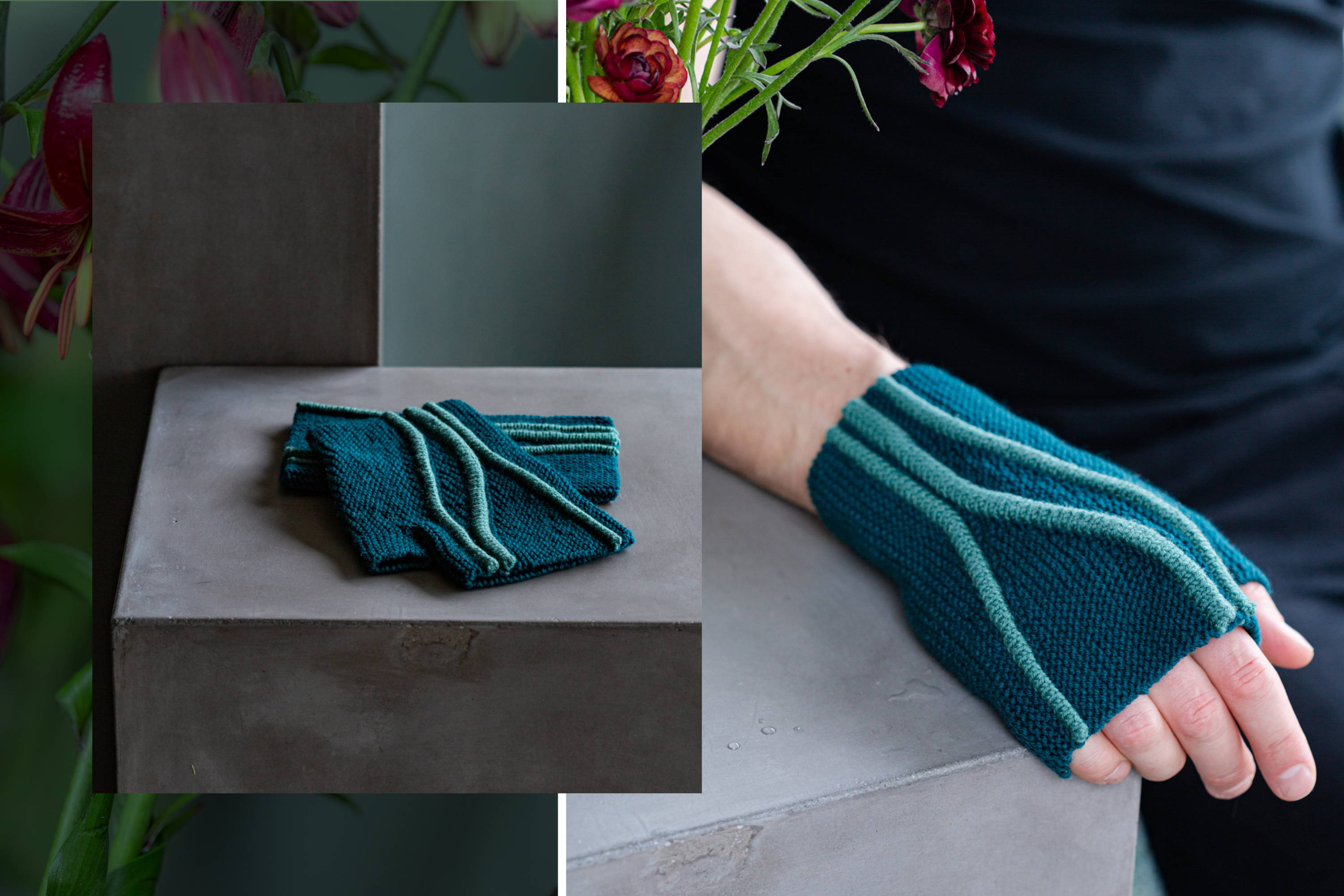 Image of Limn mitts lying flat on a shelf left, Brian modeling Limn mitt right