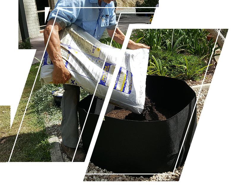 Man pouring soil in Ecogardener grow bags