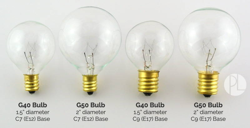 Bulb Comparison - G40 & G50 in C7 and C9 Socket Sizes