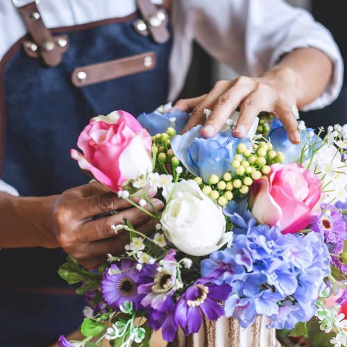 An artificial flower bouquet