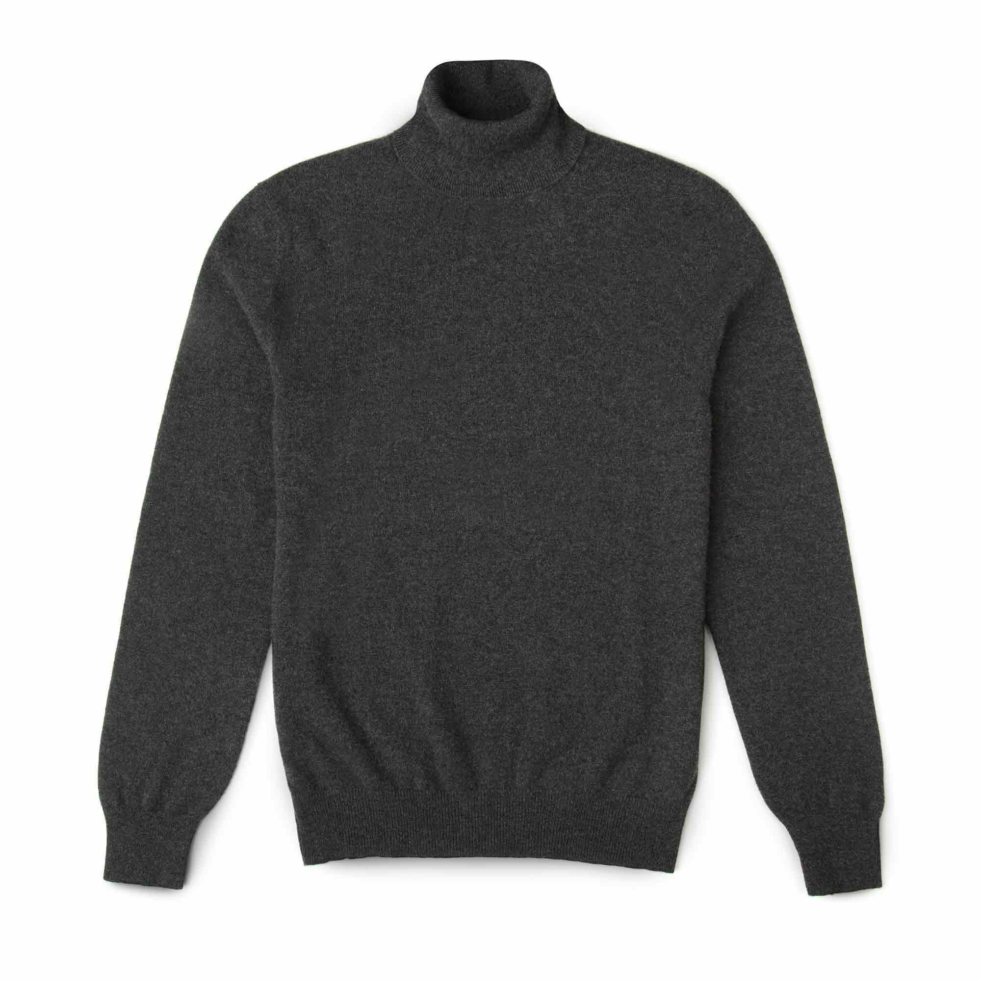 Luca Faloni Charcoal Grey Pure Cashmere Roll Neck Made in Italy