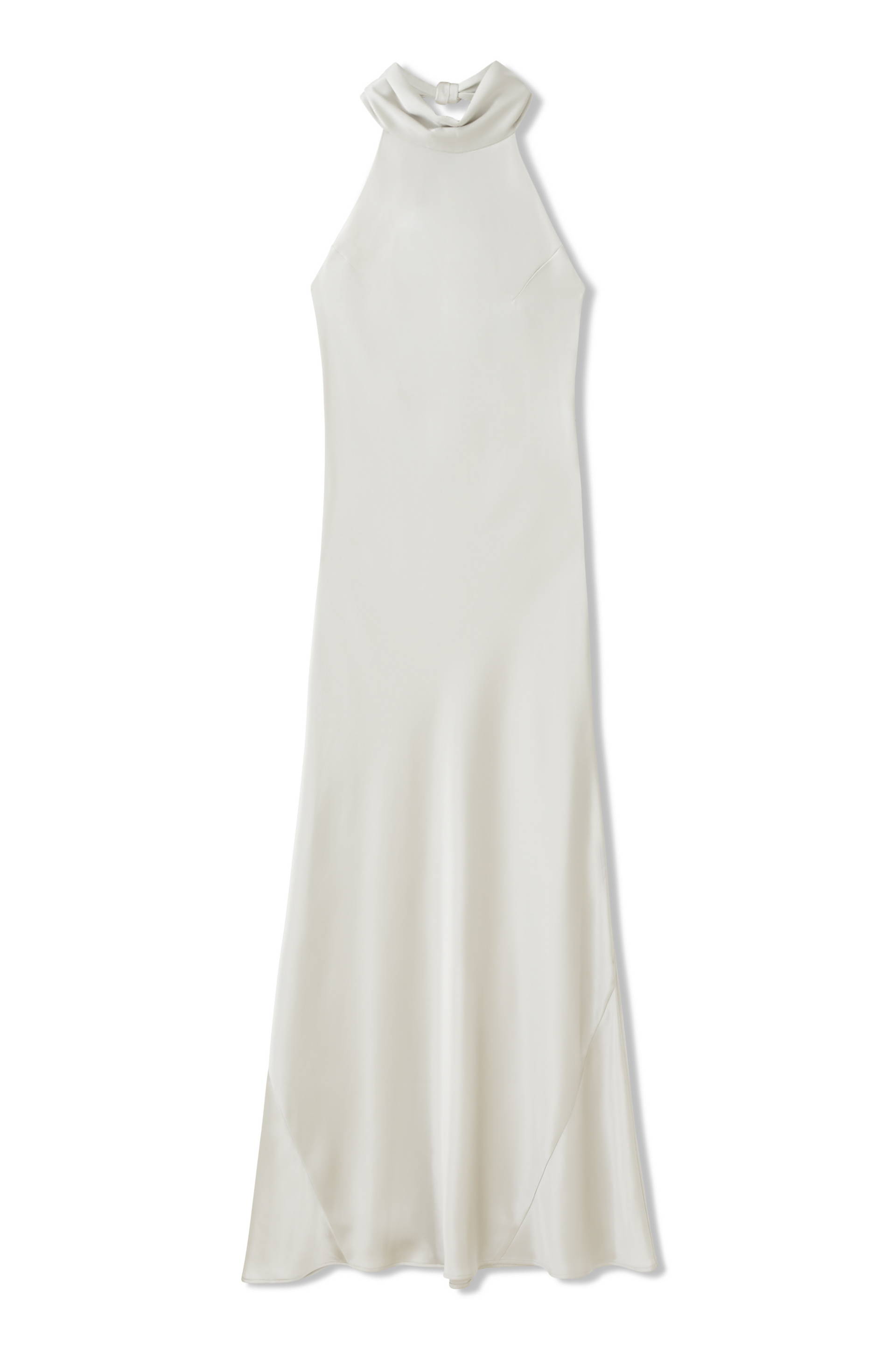 Galvan London Bridal High Neck Skirt White Satin Dress